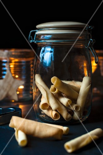 A jar of homemade tuille biscuits for Christmas