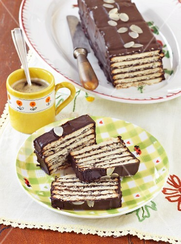 Hedgehog slice cake with coffee