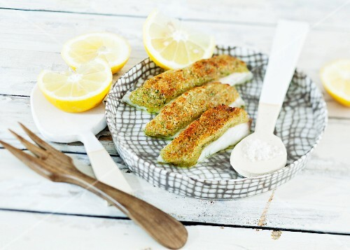 Raclette-baked fish with a breadcrumb coating