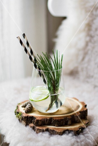 A lime drink garnished with a sprig of pine (Christmas)