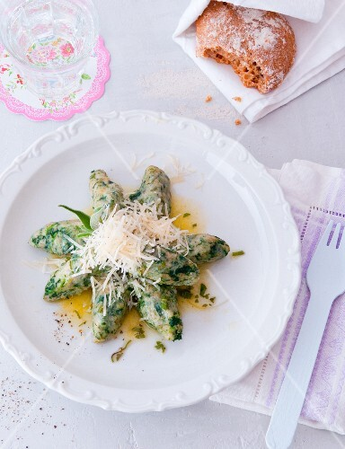 Malfatti (Italian spinach dumplings) with sage butter and Pecorino cheese