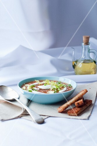 Vegetable soup with sour cream and grilled bread