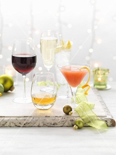 Various Christmas cocktails