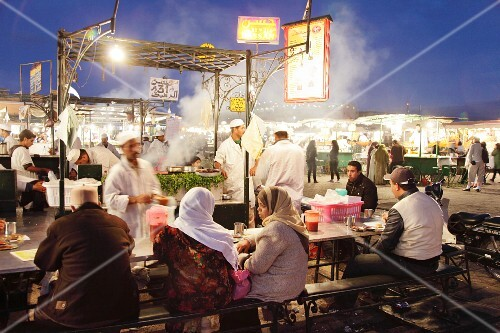 One of the food stalls on Jemaa el-Fna Square, Marrakesh, Morocco, inscribed on the UNESCO Representative List of the Intangible Cultural Heritage of Humanity