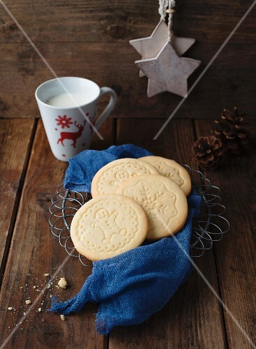 Christmas biscuits and a cup of milk
