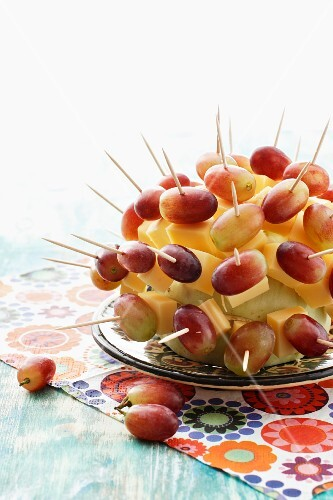 A cheese and grape hedgehog