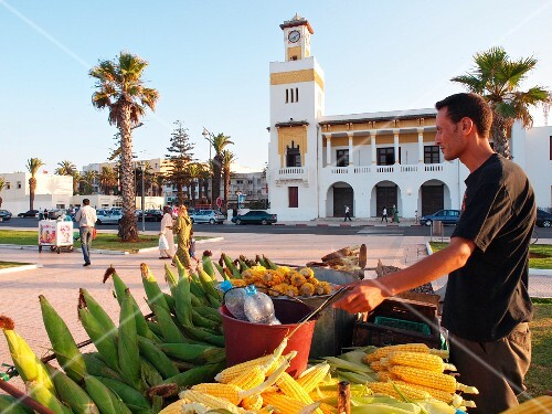 On the sea front at El Jadida, snacks such as corn cobs are sold, Morocco