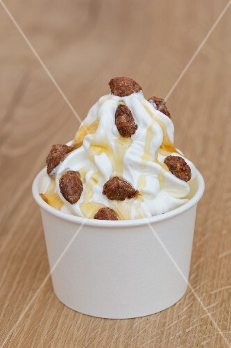 Frozen yoghurt with honey and roasted almonds
