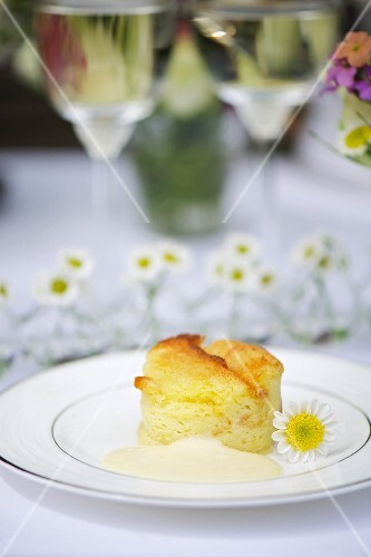 Apple and bread pudding with vanilla sauce