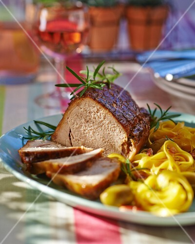 Roast veal with rosemary and olive tagliatelle