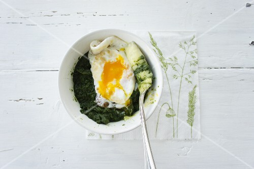 Spinach with mashed potatoes and a fried egg