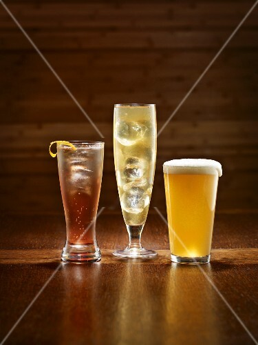 Three cocktails: Drafted American, Bitter Chill and Beer and a Smoke