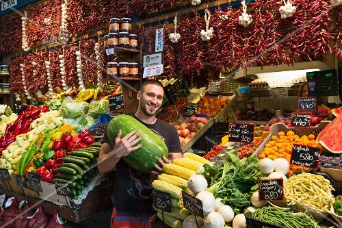 A vegetable stand in the central market hall in Budapest, Hungary