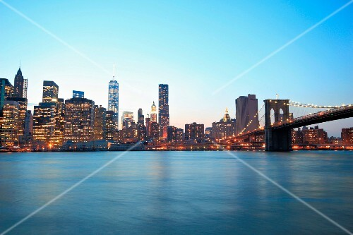 The skyline of Manhattan with the Brooklyn Bridge (New York, USA)