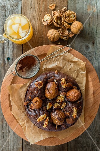 Chocolate cake with pears, marzipan and walnuts