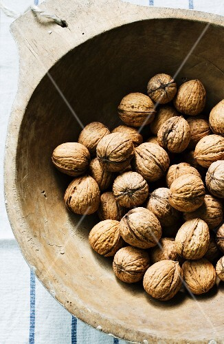 Walnuts in a wooden bowl