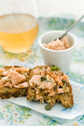 Bread topped with salmon rillette