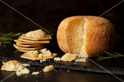 A wheel of Pecorino cheese with crackers and rosemary