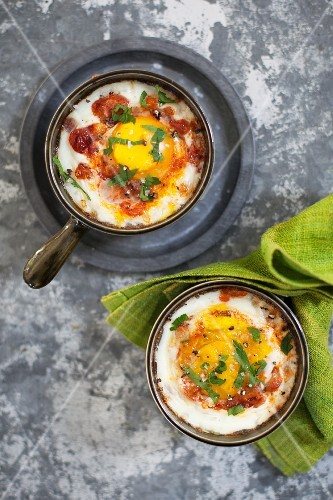 Oeufs Cocotte with parsley