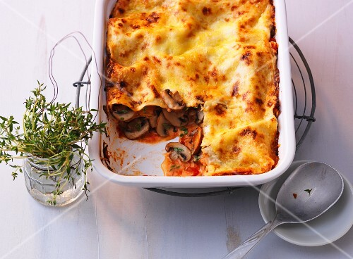 Lasagane with fresh mushrooms and tomatoes