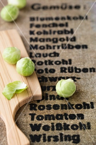 Brussels sprouts on a wooden board