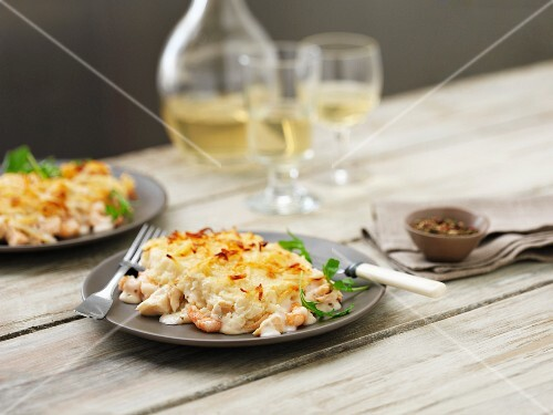 Fish pie with prawns and cod