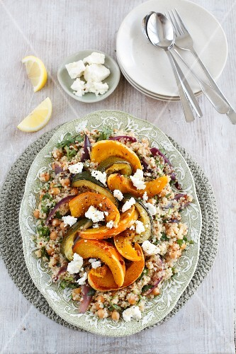 Warm squash salad with couscous and sheep's cheese
