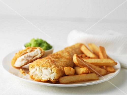 Cod with chips and mushy peas