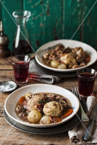Coq au vin - chicken casserole with dumplings