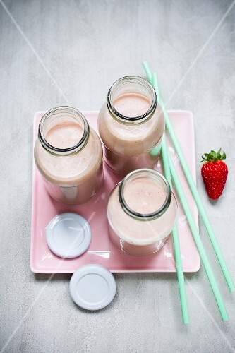 Strawberry protein shakes in bottles
