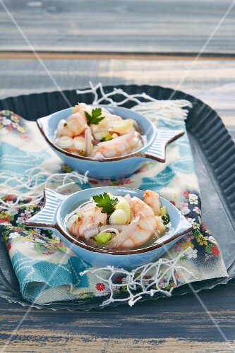 Prawn ceviche with lemons and coriander