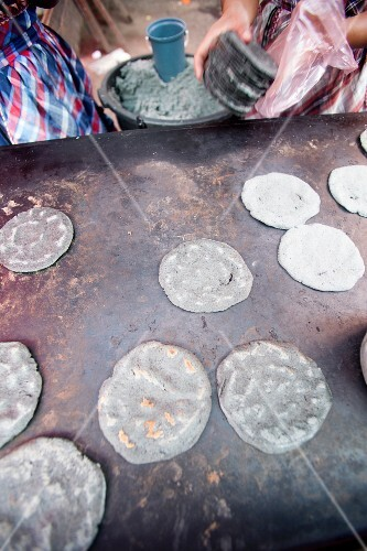 Blue corn tortillas, in a cookshop in Chichicastenango, Guatemala, Central America