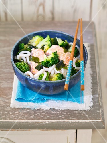 Miso soup with salmon, broccoli and udon noodles (Japan)