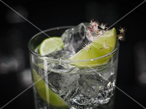 A Gin & Tonic with ice cubes garnished with lime and flowers