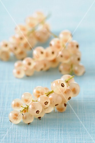 White currants on a pastel-coloured tablecloth
