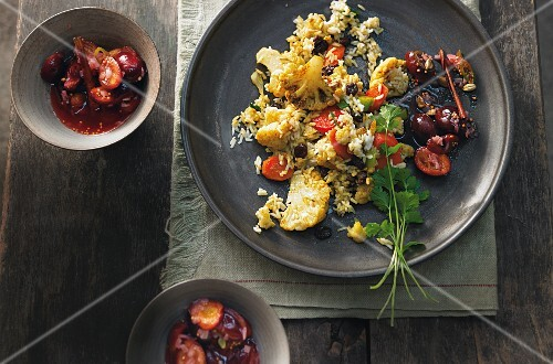 Cauliflower pilau with plum chutney