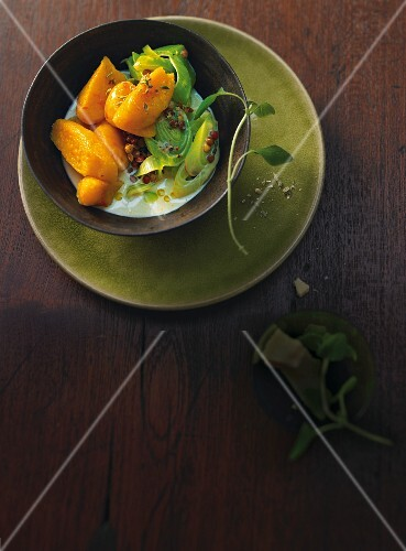 Pumpkin gnocchi with leek and lentils