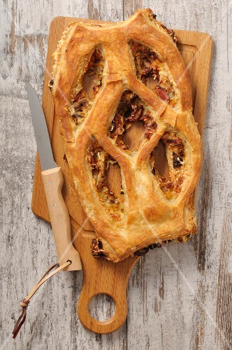 Fougasse on a chopping board