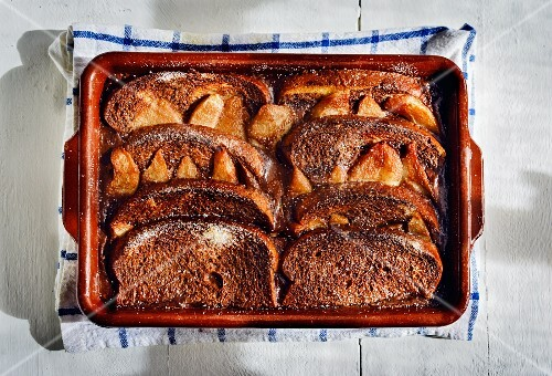 A brioche, pear and chocolate bake (seen from above)