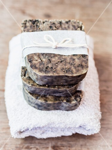 Homemade coffee soap on a towel