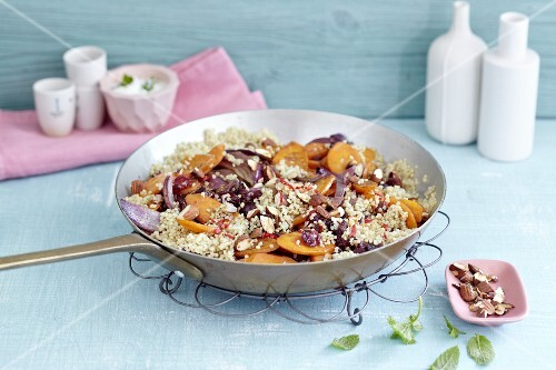 Quinoa with cranberries, apricots and onions