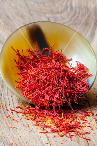 Strands of saffron in a container