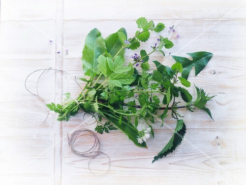 A bunch of fresh wild herbs on a wooden surface