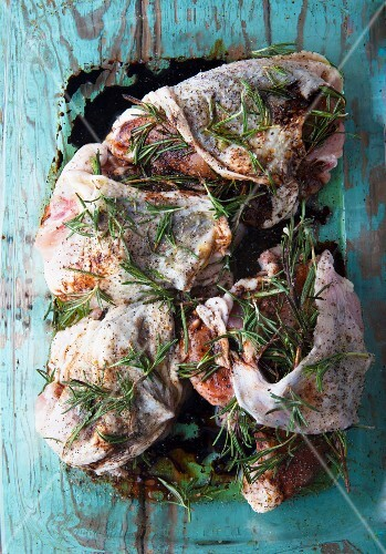 Rosemary chicken being marinated