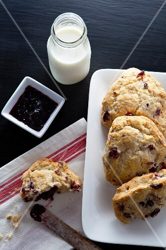 Scones, jam and milk