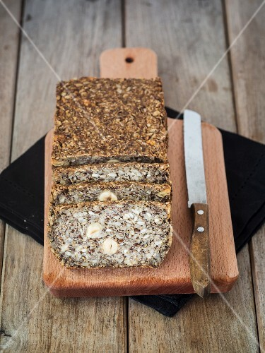 Flourless bread with sunflower, flax and chia seeds, oats, psyllium seed husks and hazelnuts