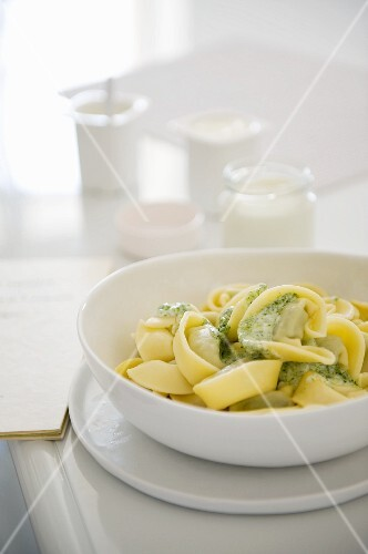 Tagliatelle with pesto, and homemade yoghurt