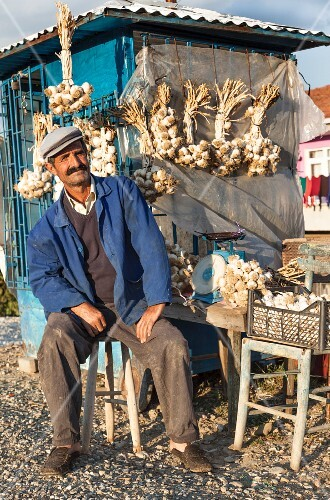 Garlic being sold by the road near Tasköprü between Kastamonu and Sinop, Turkey