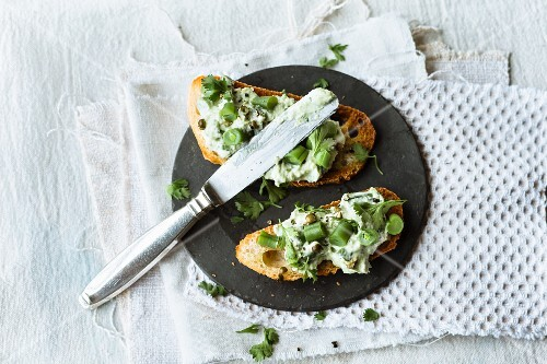 Bean and ricotta spread with sesame seed paste and coriander