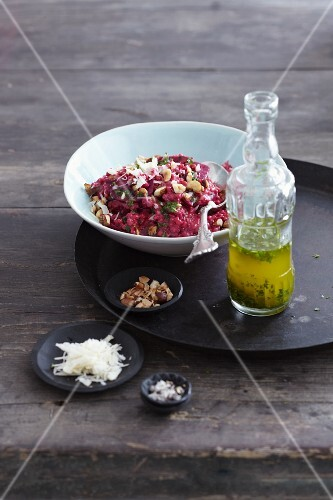 Beetroot barley risotto